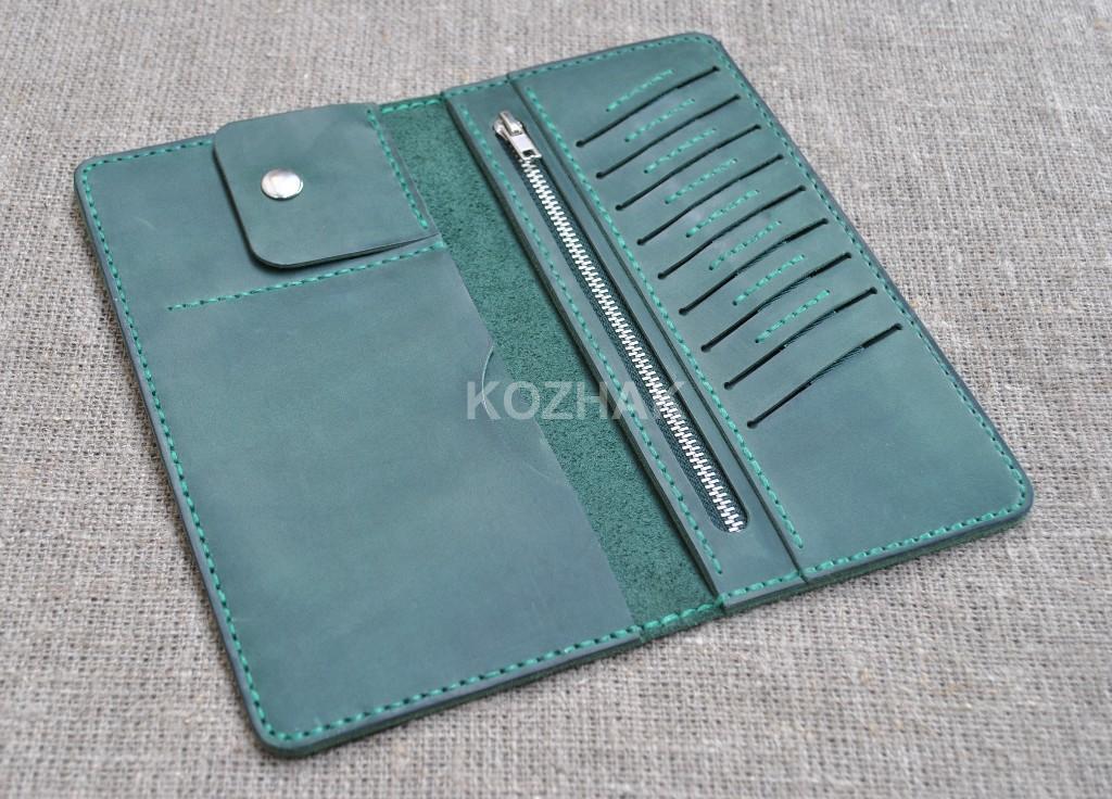 Большой зеленый портмоне из натуральной кожи