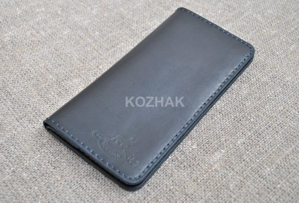 Красивый черный кошелек из натуральной кожи
