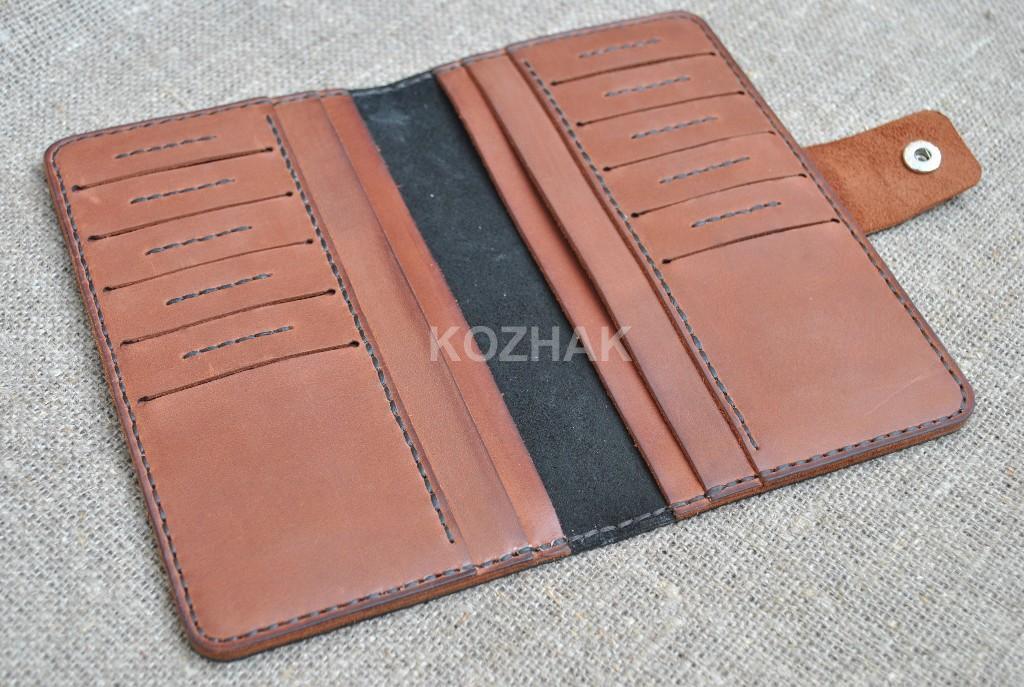 Стильное портмоне ручной работы из натуральной кожи