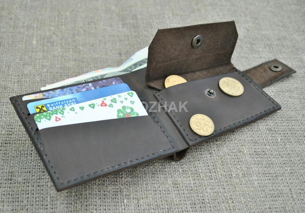 Компактный кошелек для джинсового кармана из кожи