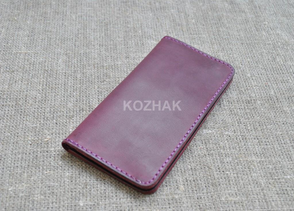 Стильный портмоне в цвете марсала из натуральной кожи