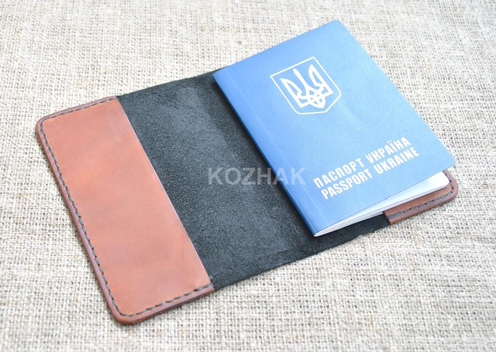 Кожаная двухцветная обложка для паспорта