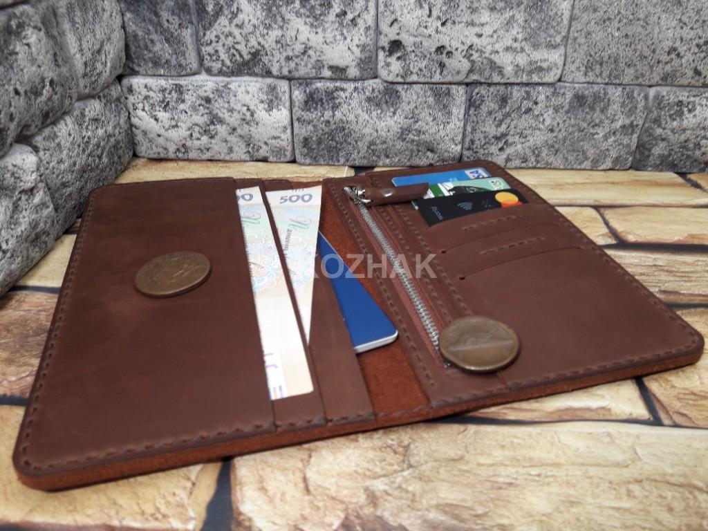 Красивый портмоне коньячного цвета из кожи