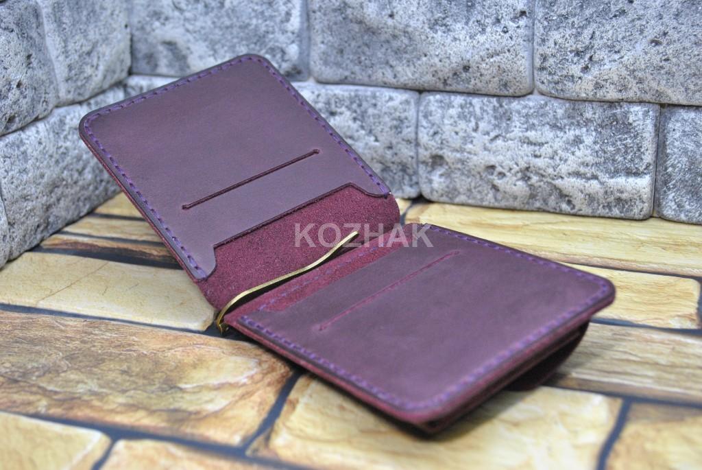 Кожаный кошелек с прижимом для денег с отделами для карт и монет