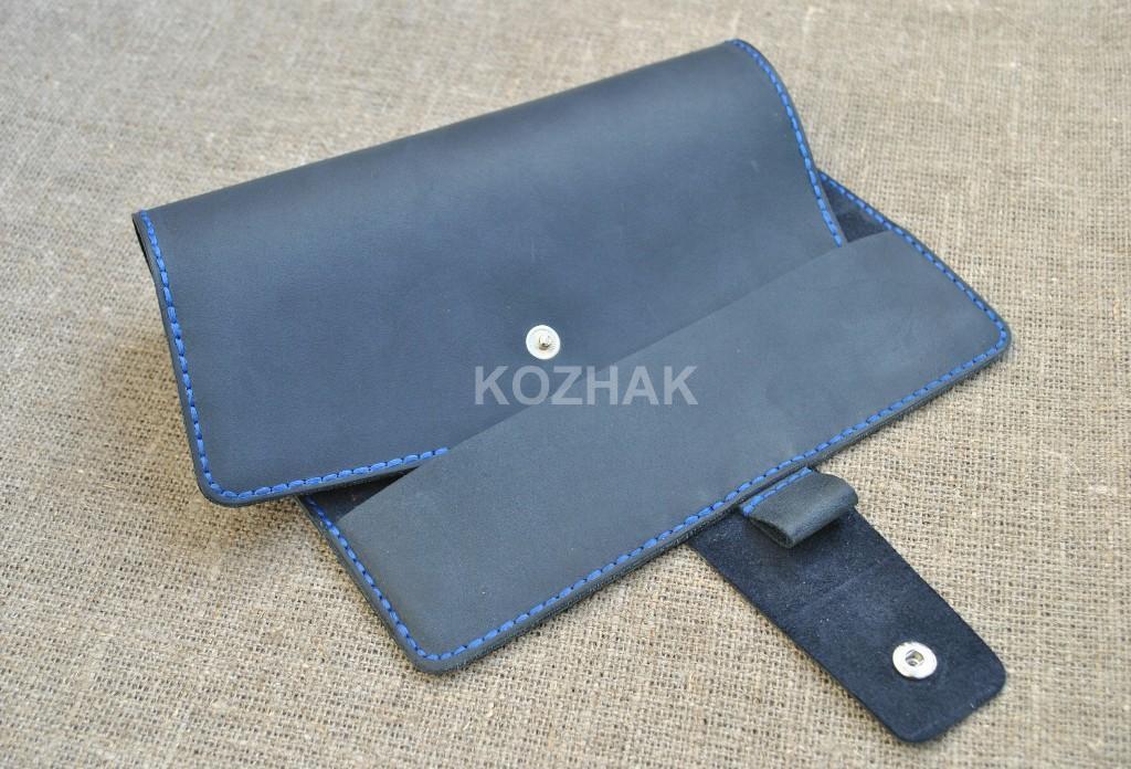 Темно-синяя обложка для блокнота из натуральной кожи
