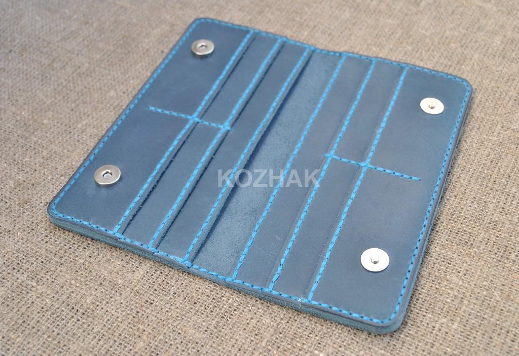 Кожаный синий кошелек ручной работы