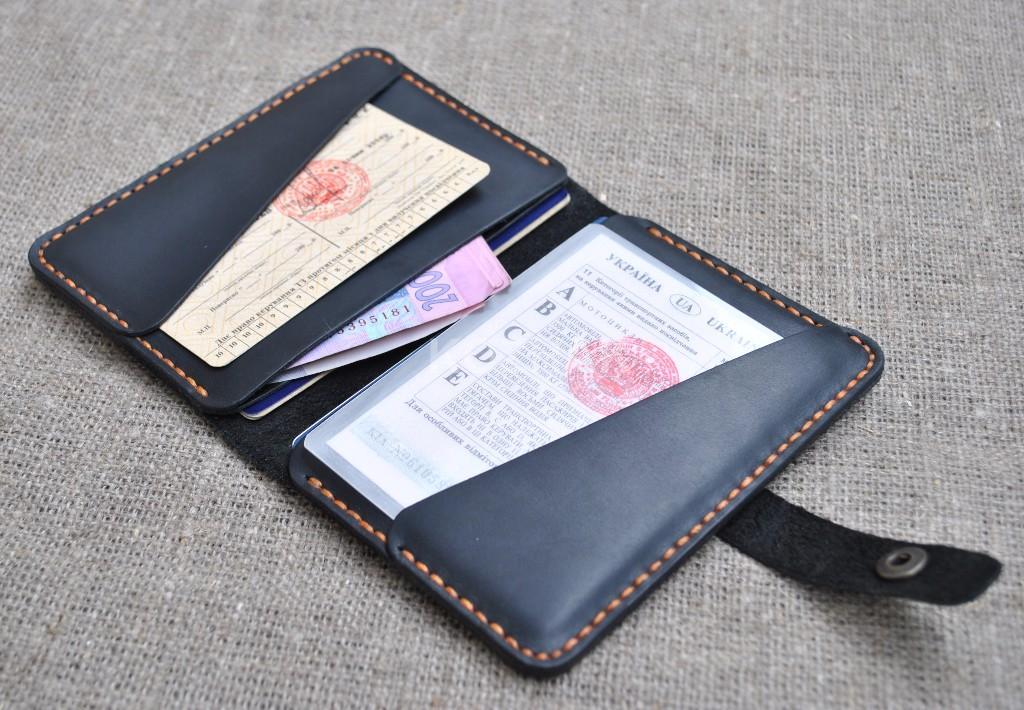 Водительское портмоне из натуральной кожи ручной работы