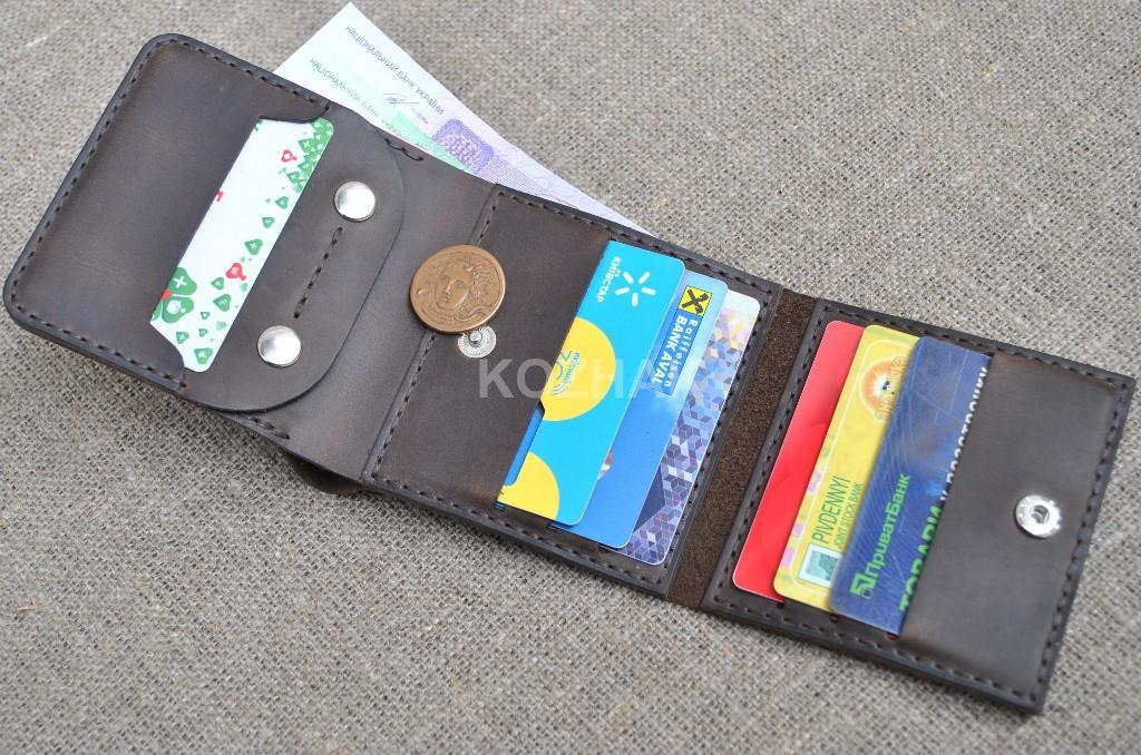 Бумажник тройного сложения из кожи ручной работы