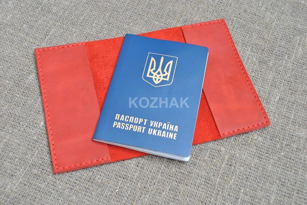Красная обложка для паспорта ручной работы