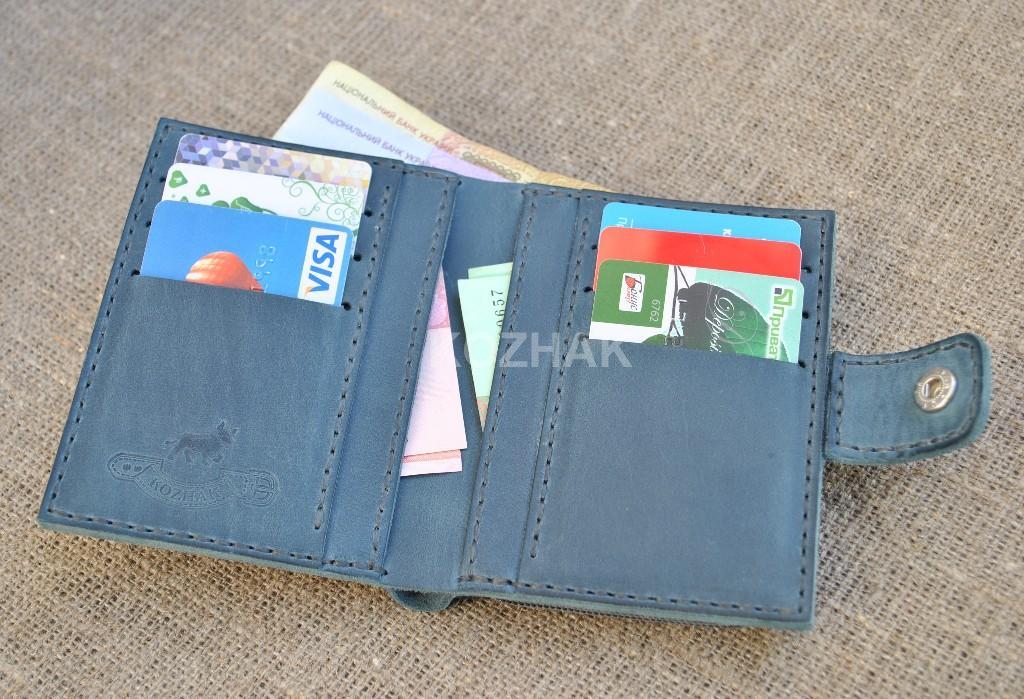 Вертикальный кошелек синего цвета ручной работы