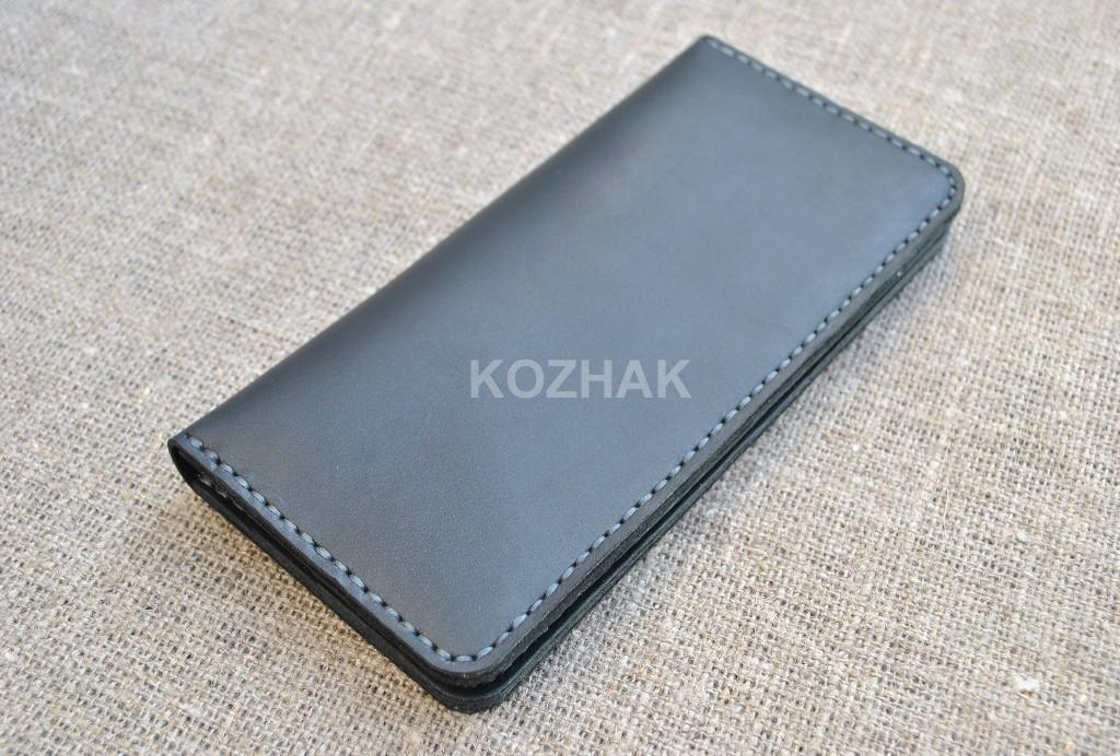 Стильный черный кошелек ручной работы