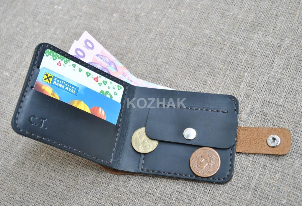 Двухцветный кошелек из натуральной кожи ручной работы