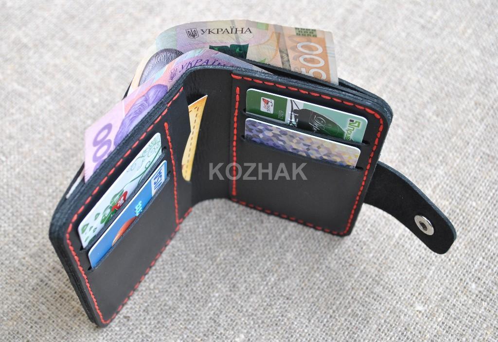 Кожаный вертикальный кошелек с двумя отделами для купюр