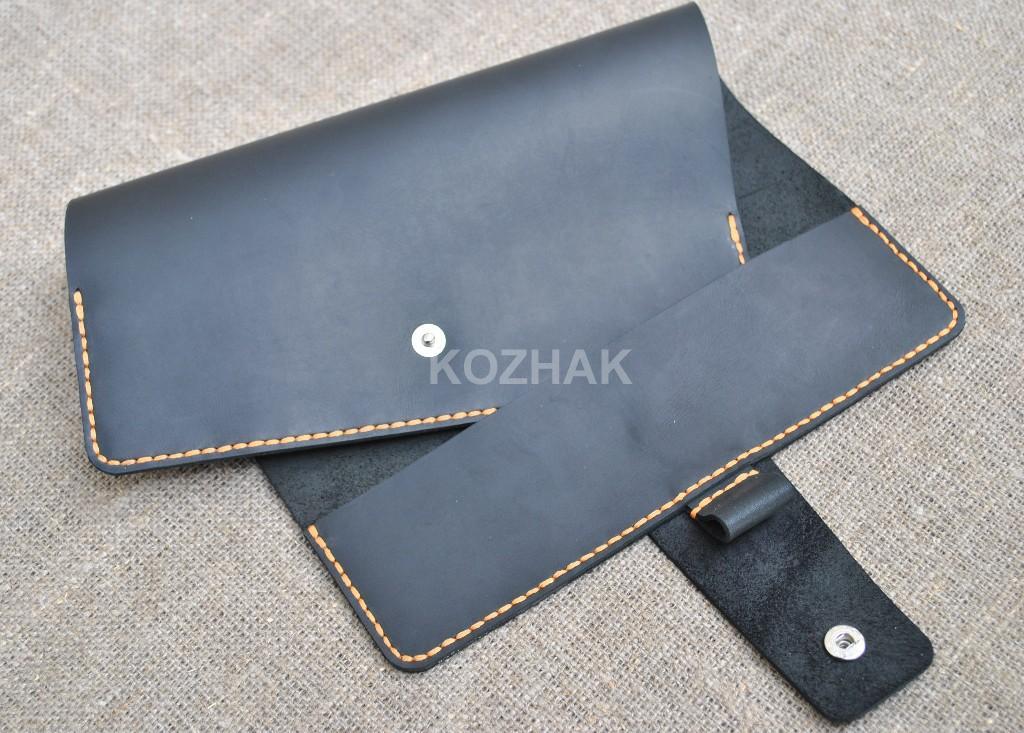 Черная обложка для А5 блокнота с контрастной нитью