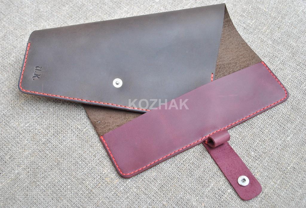 Контрастная обложка из кожи для блокнота ручной работы