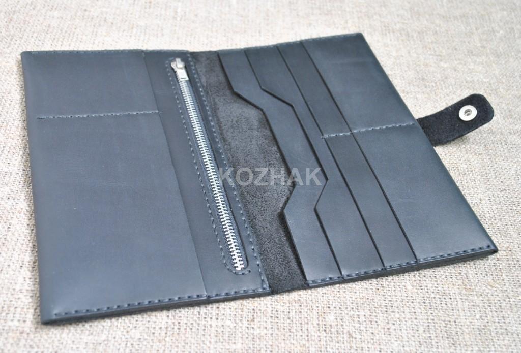 Кошелек черный из натуральной кожи ручной работы