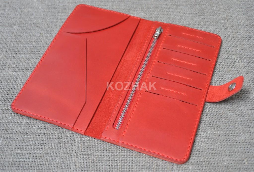 Большой красный кошелек из натуральной кожи