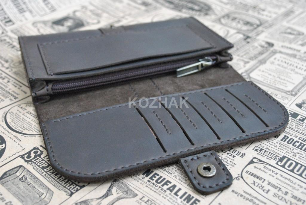 Темно-коричневый кошелек из кожи crazy horse ручной работы