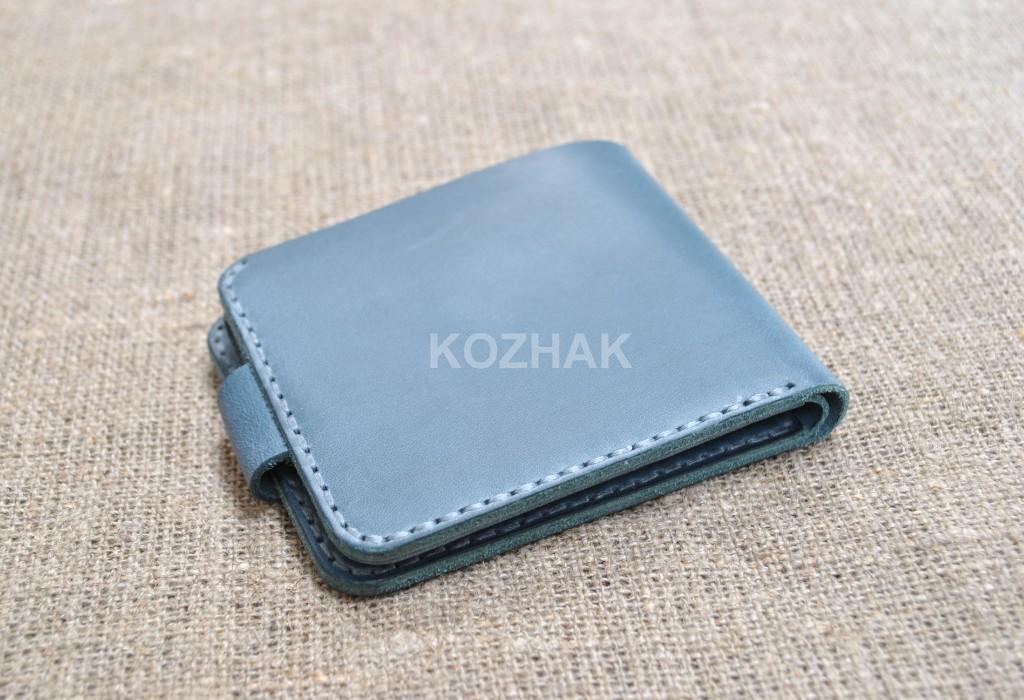 Синий тонкий кошелек для монет и денег ручной работы
