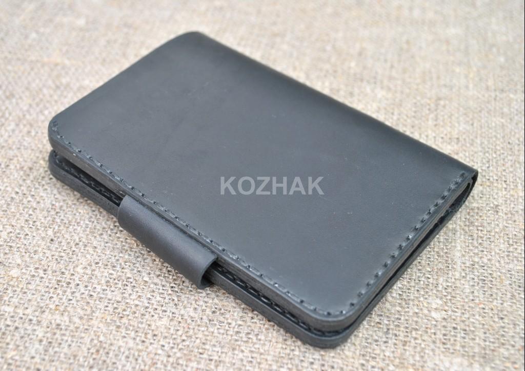 Черный вертикальный кошелек ручной работы
