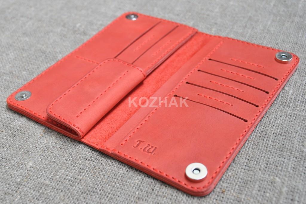 Красный кошелек двойного сложения ручной работы