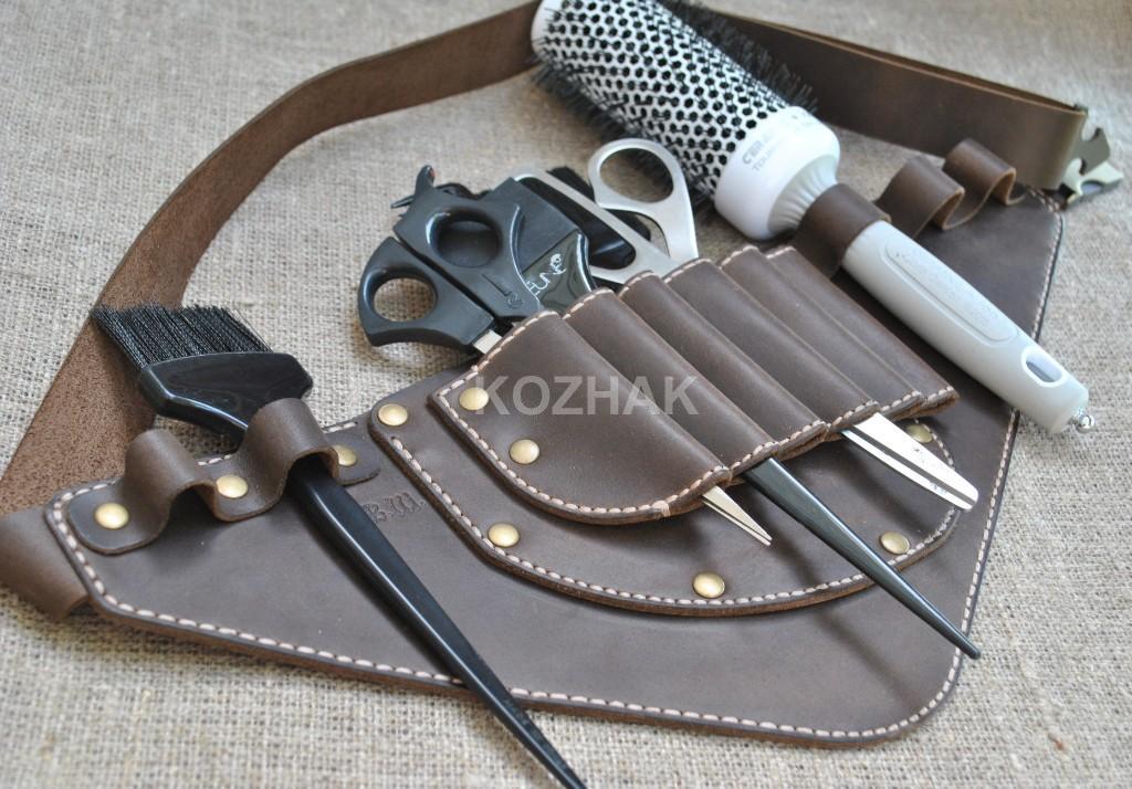 Кожаная кобура для мастера-парикмахера ручной работы