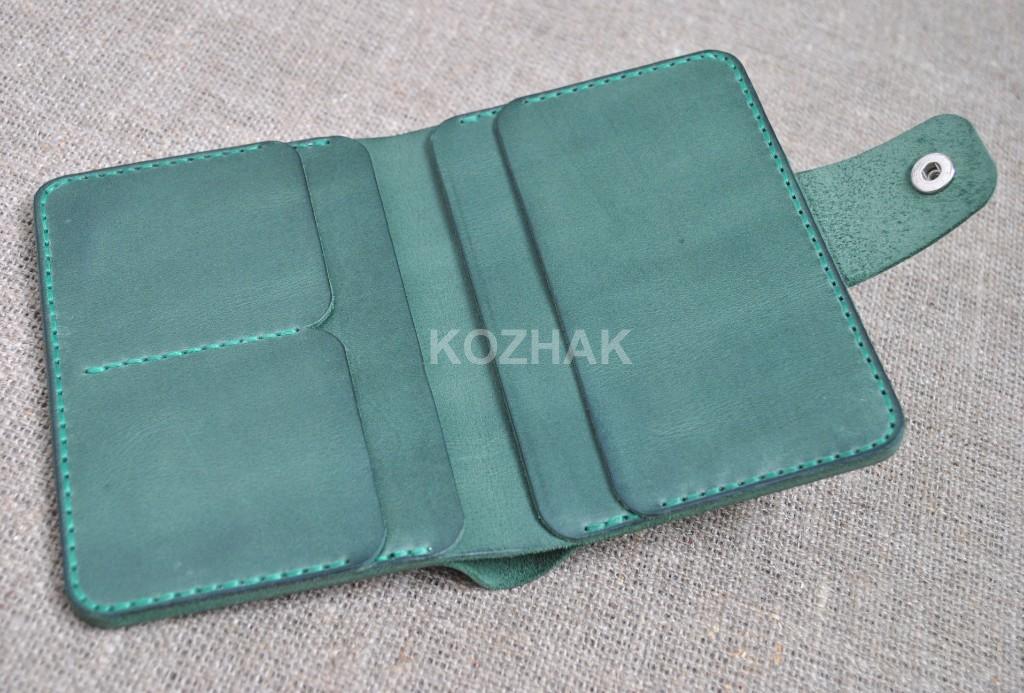 Вертикальный кожаный кошелек ручной работы