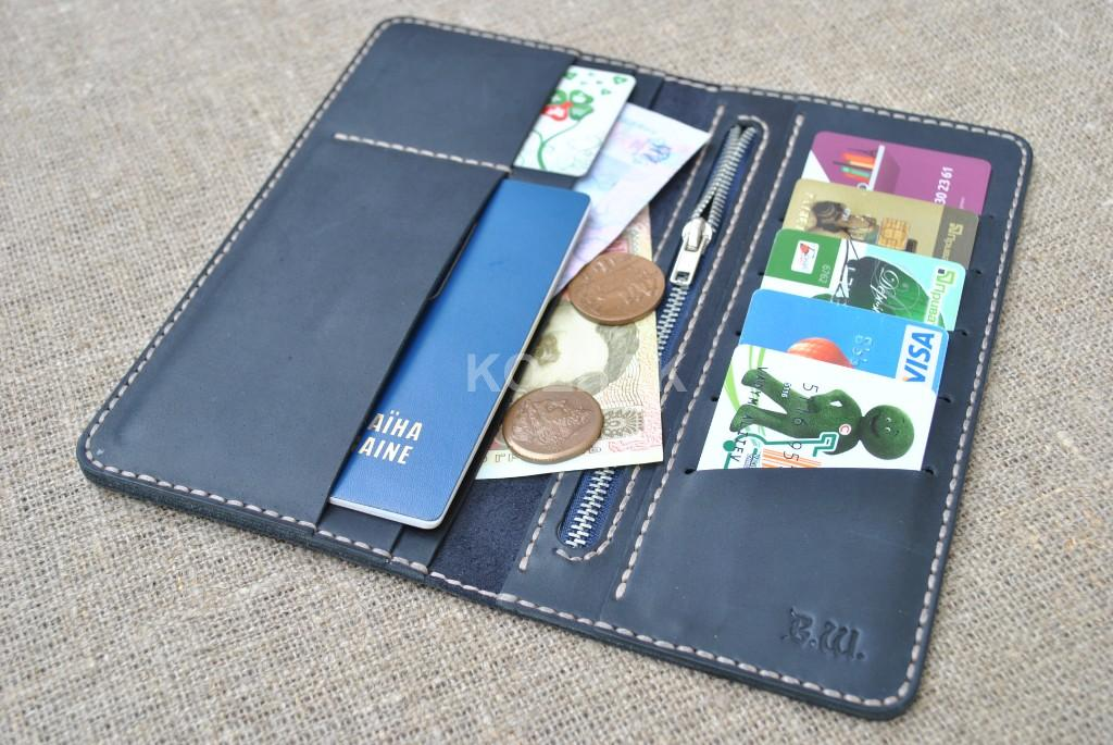 Длинный темно-синий кошелек двойного сложения