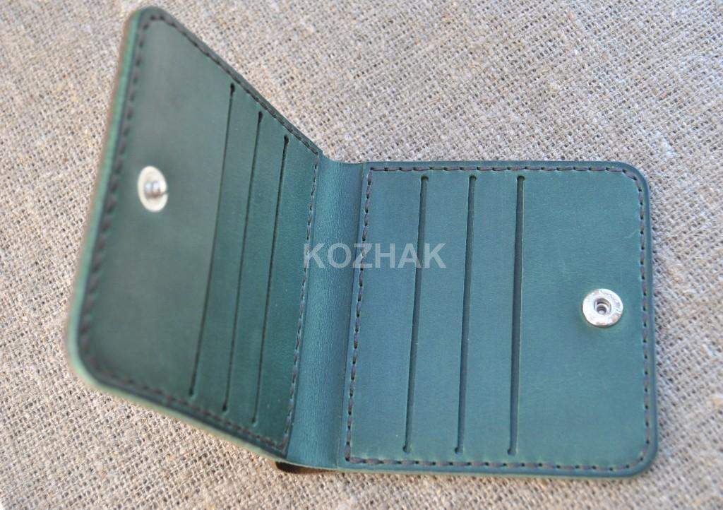 Двухцветный квадратный кошелек ручной работы