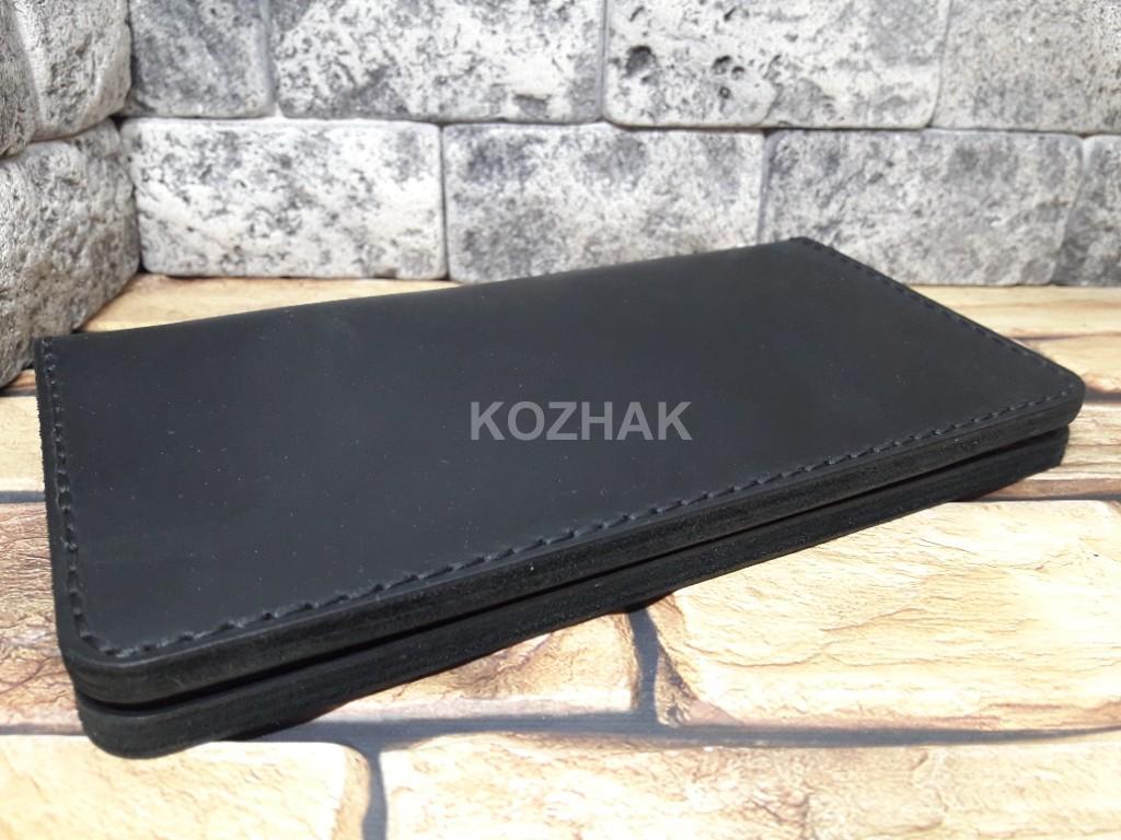 Черный кожаный портмоне ручной работы