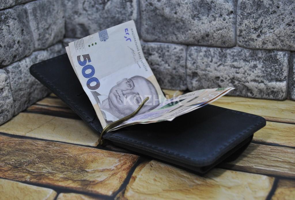 Зажим для денег темно-синего цвета из кожи