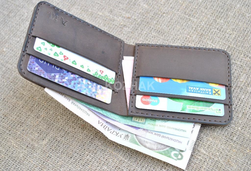 Компактный кожаный кошелек ручной работы