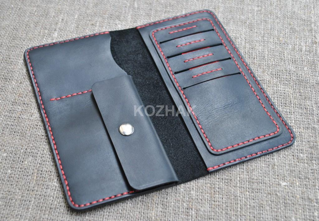 Черный портмоне из натуральной кожи crazy horse