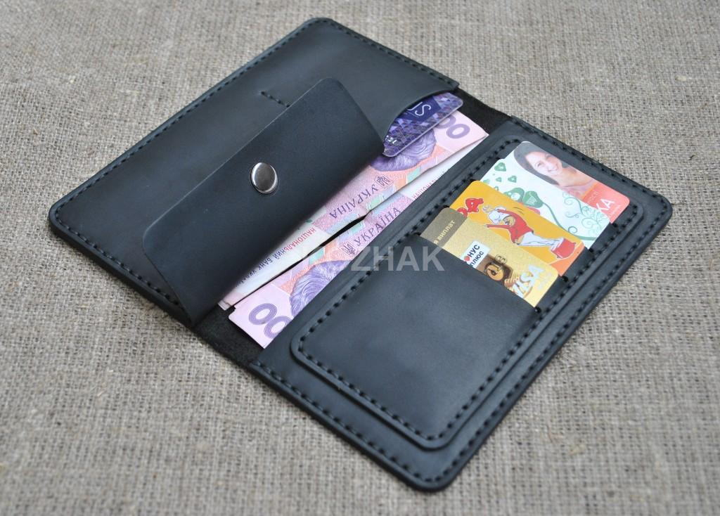 Оригинальное черное портмоне из натуральной кожи crazy horse