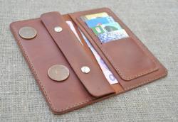 Оригинальный кожаный кошелек ручной работы