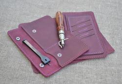 Кожаное портмоне для путешественника ручной работы