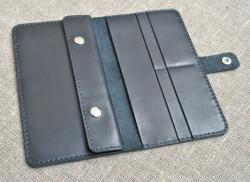 Большой черный кошелек из натуральной кожи