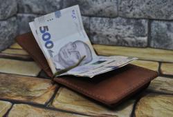 Зажим для денег с отделом для монет из натуральной кожи