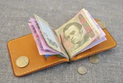 Оригинальный зажим для денег с отделом для монет из кожи
