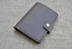 Вертикальный портмоне из натуральной кожи ручной работы