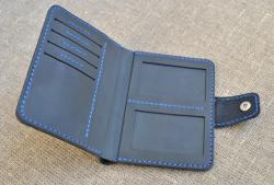Вертикальный кошелек из натуральной кожи ручной работы
