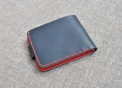 Черно-красный кошелек из натуральной кожи