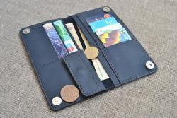 Темно-синий кошелек с магнитами из натуральной кожи