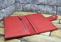 Кошелек из красной натуральной кожи ручной работы
