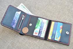 Квадратный небольшой кошелек из кожи ручной работы