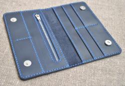 Кошелек темно-синего цвета кожаный ручной работы