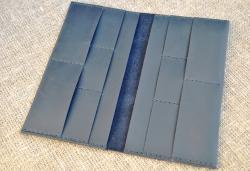 Большой темно-синий кожаный кошелек ручной работы