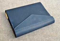 Темно-синяя кожаная обложка для блокнота формат А5