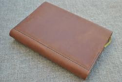 Обложка А5 формата для блокнота из коричневой кожи