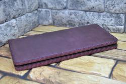 Большой кошелек в цвете марсала из натуральной кожи